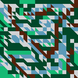 Vector illustration of a seamless pattern of simple geometric objects direct in brown, blue, gray and green colors.  Vector Illustration