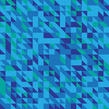 Vector illustration of a seamless pattern of simple triangles in different shades of blue.  Stock Image