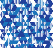 Vector illustration of a seamless pattern of simple triangles in different shades of blue and white colors.  Royalty Free Stock Photos