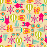 Vector illustration of seamless pattern with summer symbols. Vector background of seamless pattern with summer symbols Royalty Free Stock Image
