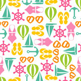 Vector illustration of seamless pattern with summer symbols Stock Images