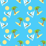 Vector illustration seamless pattern for traveling. Tropical island with palm tree and boat. Vector illustration seamless pattern. Tropical island with palm tree Stock Image