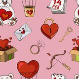 Vector illustration of a seamless pattern for Valentine`s day. Design of festive background Stock Photography