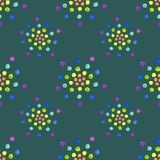 Seamless pattern with watercolor circles on dark green background. Vector illustration, seamless pattern with watercolor circles on dark green background stock illustration