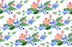 Vector illustration - Seamless pattern with watercolor flowers Stock Images