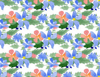 Vector illustration - Seamless pattern with watercolor flowers Royalty Free Stock Image