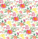 Vector illustration - Seamless pattern with watercolor flowers Stock Photography
