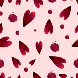 Seamless pattern with watercolor stains and hearts on pink background. Vector illustration, seamless pattern with watercolor stains and hearts on pink background vector illustration