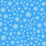 Seamless pattern. White snowflakes on a blue backgrounds. For packaging paper vector illustration