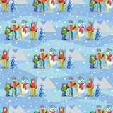 Vector illustration of seamless pattern with winter landscape happy family playing snowman, skiing, walking outdoor. Royalty Free Stock Photo