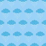 Vector illustration of seamless patterns and backgrounds in tender blue color, clouds theme. Cartoon cloud  and snowflakes. Can be Royalty Free Stock Images