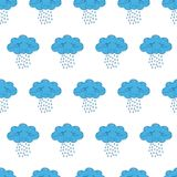 Vector illustration of seamless patterns and backgrounds in tender blue color, clouds theme. Stock Photos