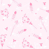 Vector seamless background with flowers. Royalty Free Stock Photo