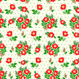 Vector illustration of seamless red flowers pattern on light background. Vector illustration of seamless yellow and red flowers pattern on light background Royalty Free Stock Image