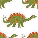 Vector illustration of a seamless repeating pattern of dinosaur Stock Photography