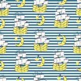 Vector illustration of seamless striped sailing pattern with ships, half moon, stars overlap strips. Cartoon endless texture for fabric, paper, scrapbooking Royalty Free Stock Image