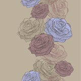 Vector illustration. Seamless wallpaper with blue and pink roses Royalty Free Stock Images