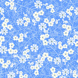Vector illustration of seamless white and blue flower pattern. White flowers and leaves with yellow details on light blue background Royalty Free Stock Photography