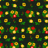 Vector illustration of seamless yellow and red flowers pattern. On dark background. Beautiful simple flowers and leaves Royalty Free Stock Photos