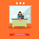 Vector illustration of seamstress sewing on machine in flat style. Vector illustration of young woman seamstress sewing on treadle sewing machine. Atelier Stock Photo