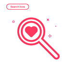 Vector illustration of search love concept in flat bold line style. Royalty Free Stock Image
