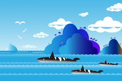 Vector illustration seascape background over sea with the whale. Family in water wave between archipelago, Blue color with fishes and the bird flying in sky Royalty Free Stock Image
