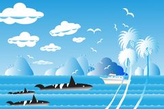 Vector illustration seascape background travel over sea with  wh. Vector illustration seascape background travel over sea with the whale family in water wave Stock Photos