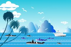 Vector illustration seascape background travel over sea with  wh. Vector illustration seascape background travel over sea with the whale family in water wave Stock Photo