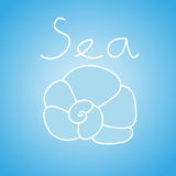 Vector illustration of seashell on the light blue background with text Royalty Free Stock Images