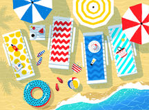 Vector illustration of seaside accessories and sea surf Stock Photos