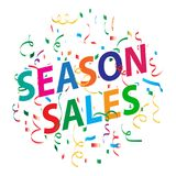 Season sales background with colorful confetti. Vector illustration of season sales confetti ribbons on white background Royalty Free Stock Photo