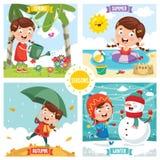 Vector Illustration Of Seasons royalty free illustration