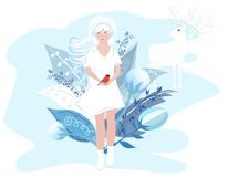 Vector Illustration Of Seasons. Winter girl in a white dress holding a bird in her hands. Cute girl with white hair on a vector illustration