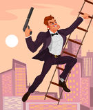 Vector illustration of a secret agent. With a gun in his hand climbs the ladder vector illustration
