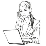 Vector illustration of a secretary with headphones Royalty Free Stock Image