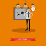 Vector illustration of security guard in flat design. Vector illustration of security guard standing near bank safe. Bank security service concept design element Royalty Free Stock Photography
