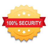 100% security seal stamp. Vector illustration of 100 security seal golden star on isolated white background royalty free illustration