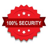 100% security seal stamp. Vector illustration of 100 security seal red star on isolated white background royalty free illustration