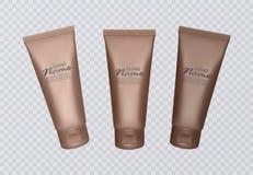 Vector Illustration with self tanning concentrate bottles. Various shades of sunburn, bronze skin stock illustration