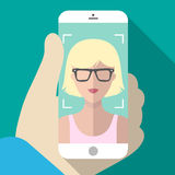 Vector illustration of selfie on mobile phone in trendy flat style. Vector icon of girl taking picture on smartphone. Royalty Free Stock Photo