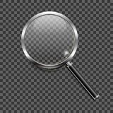 Magnifying glass icon on transparent background. Vector illustration of semi-realistic magnifying glass with reflections on transparent background Royalty Free Stock Photography
