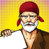 Vector pop art senior man wearing red bandana Royalty Free Stock Images