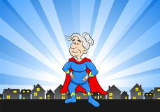 Senior super heroine with cape. Vector illustration of a senior super heroine with cape Royalty Free Stock Images