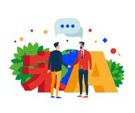 Communication in different languages. Two people shake hands. The character song and the letter A. Earth. stock illustration