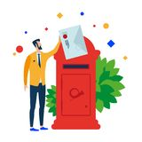 The man puts the letter in the mailbox. vector illustration