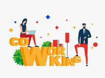 Co working. People In Creative Office. vector illustration