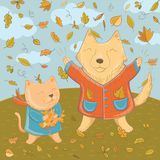 Vector illustration of september with funny pets. Vector illustration of september with funny dog and cat. Autumn fun for kids. Template for greeting card Royalty Free Stock Image