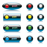 Vector illustration set of abstract shiny buttons. For web and computers application. Colorful collection isolated on white background Royalty Free Stock Photography