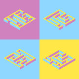 Vector illustration. set of 4 abstract square maze, isometric. y Royalty Free Stock Photos