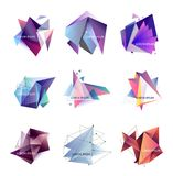 Vector illustration. Set of abstract triangle frames. Geometric figures, crystal. Template for text. Vector illustration. Set of abstract triangle frames Stock Illustration
